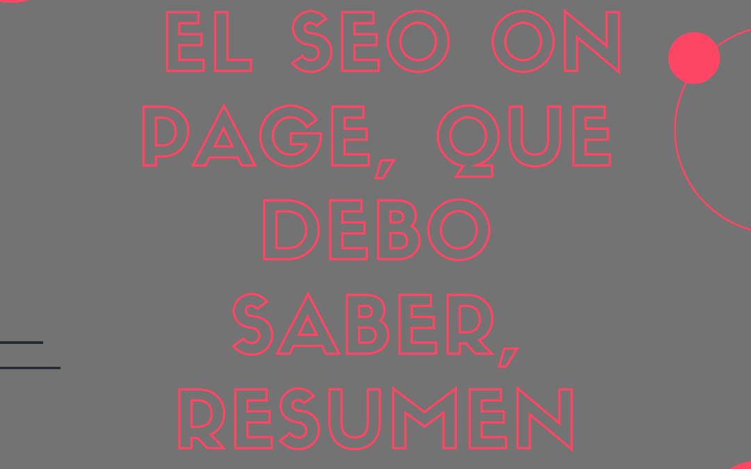 El SEO On Page, que debo saber, resumen