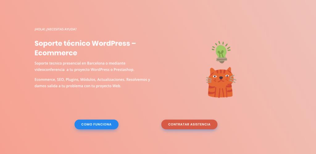 página de soporte Web wordpress prestashop en Barcelona