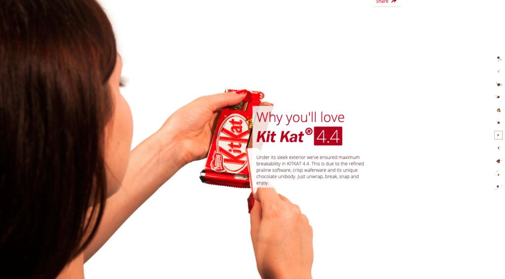 pagina web one page de kitkat