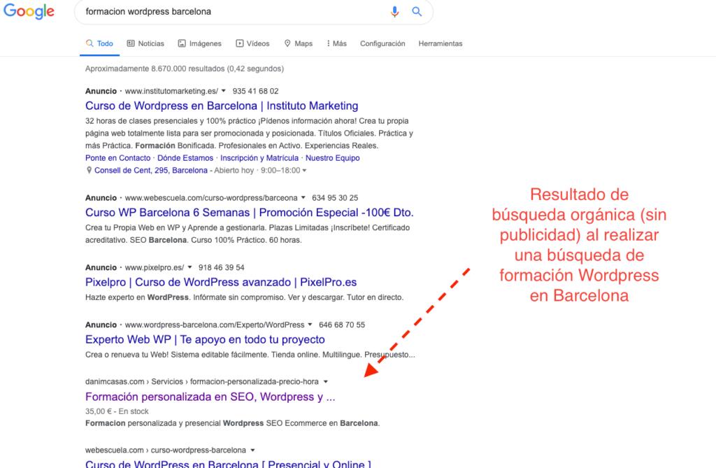 resultado busqueda en google formacion wordpress barcelona
