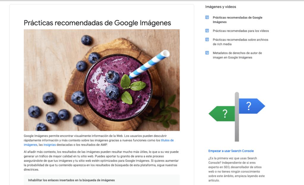 Prácticas recomendadas de google para imágenes ALT